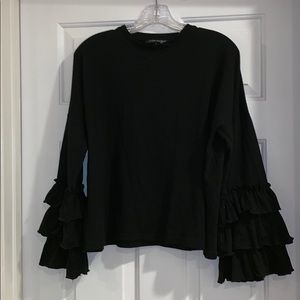 Black ruffle long sleeve